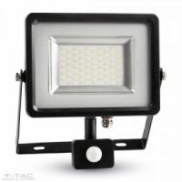 V-TAC LED MOZGÁSÉRZÉKELŐS REFLEKTOR / 50W / fekete / VT-4850 PIR meleg fehér 5701