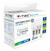V-TAC LED IZZÓ szett / gyertya / 3db / E14 / 5,5W / meleg fehér 7263