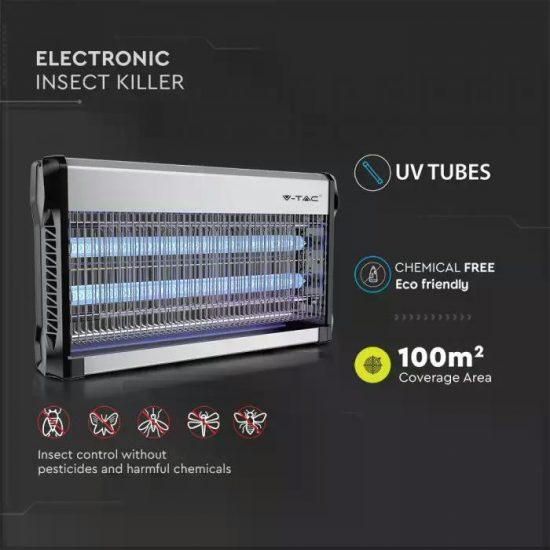 V-TAC ELEKTROMOS ROVARCSAPDA / 2 x 15W-os UV fénycsővel / 100m2-es hatótávolság / IP20 / VT-3230 11181