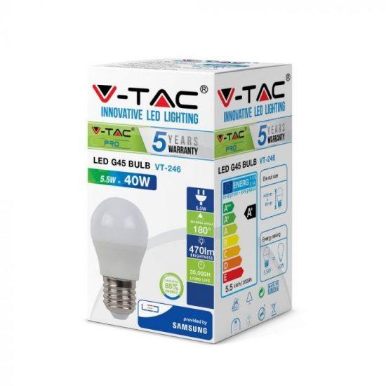 V-TAC LED IZZÓ / E27 / Samsung chip / 5,5W / VT-246 hideg fehér 176