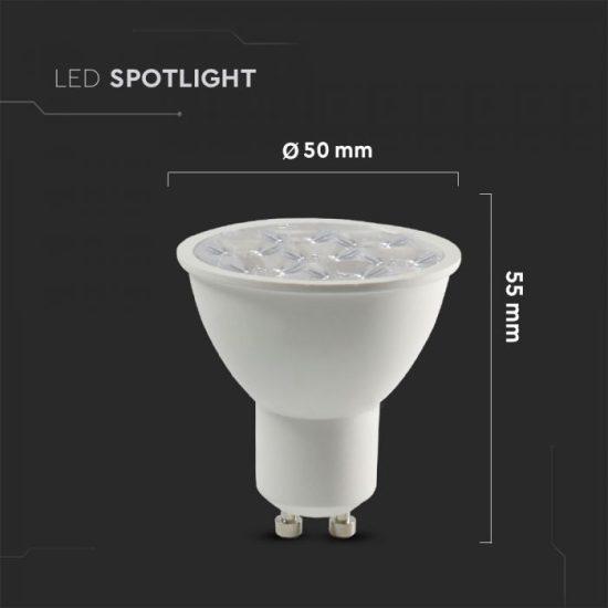 V-TAC LED SPOT / GU10 / 6W / 10° / 4000K - nappali fehér / 500lumen / Samsung chip / VT-249 20027