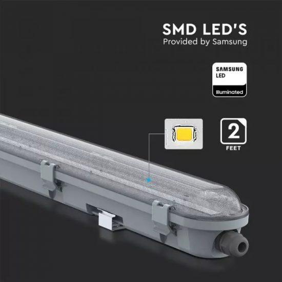 V-TAC LED VÍZMENTES LÁMPATEST / Samsung chip / 18W / hideg fehér - 6400K / 60cm / átlátszó / VT-60018 20208