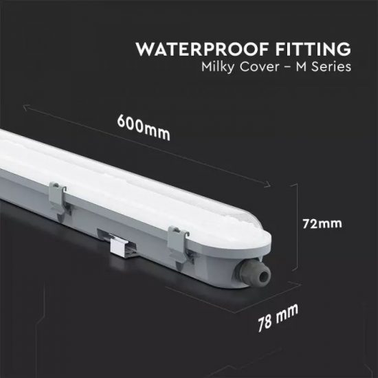 V-TAC LED VÍZMENTES LÁMPATEST / Samsung chip / 18W / nappali fehér - 4000K / 60cm / fehér / VT-60018 20211
