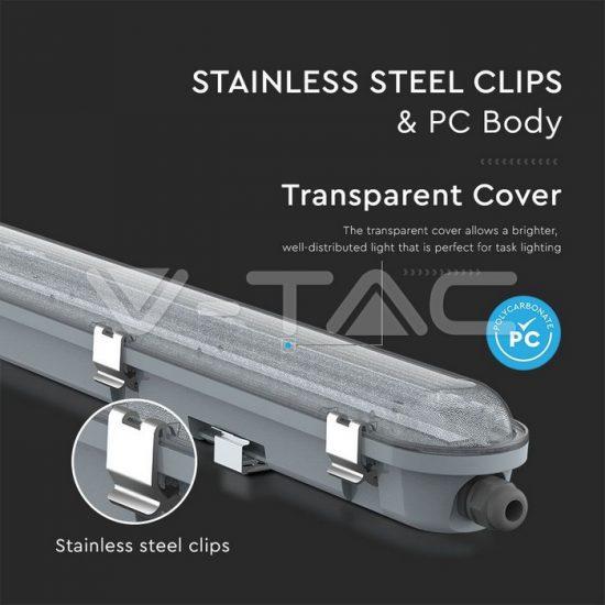 V-TAC LED VÍZMENTES LÁMPATEST / Samsung chip / 36W / hideg fehér - 6400K / 120cm / átlátszó / VT-120136 20218