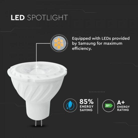 V-TAC LED SPOT / MR16 / 6,5W / 110° / nappali fehér - 4000K / 450lumen / Samsung chip/ VT-257 205