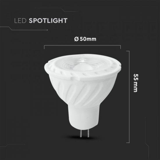 V-TAC LED SPOT / MR16 / 6,5W / 110° / hideg fehér - 6400K / 450lumen / Samsung chip/ VT-257 206
