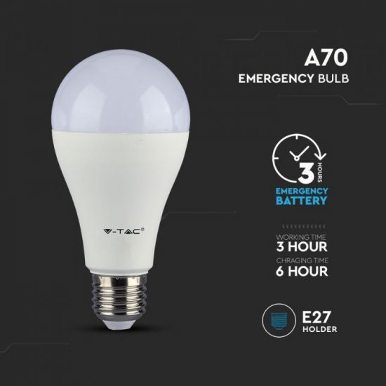 V-TAC LED IZZÓ AKKUMULÁTORRAL / E27 foglalattal / A70 típus / 9W / nappali fehér - 4000K / 806lumen / Samsung chip / VT-2309 2372