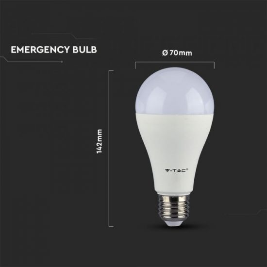 V-TAC LED IZZÓ AKKUMULÁTORRAL / E27 foglalattal / A70 típus / 9W / hideg fehér - 6400K / 806lumen / Samsung chip / VT-2309 2373