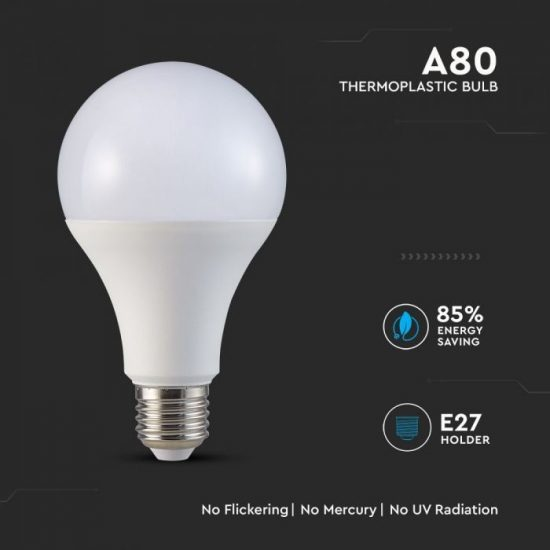 V-TAC LED IZZÓ / E27 foglalat / A80 típus / 20W / hideg fehér - 6400K / 2452lumen / Samsung chip / VT-233 239