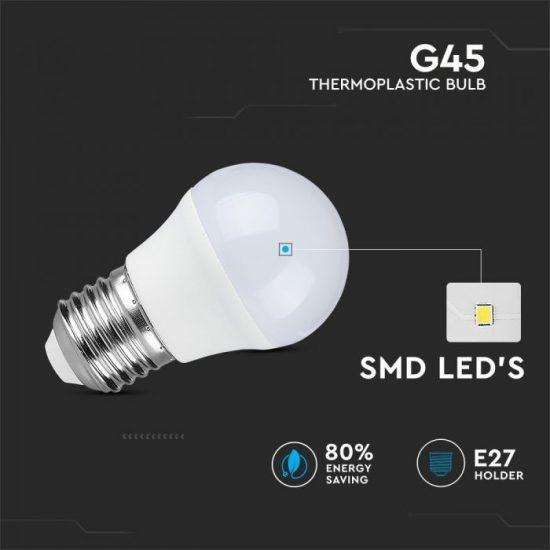 V-TAC LED IZZÓ CSOMAG 6 DB / E27 foglalat / G45 típus / 5,5W / meleg fehér - 2700K / 470lumen / VT-2256 2730