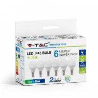 V-TAC LED IZZÓ szett / P45 / 6 db / E14 / 5,5W / nappali fehér / VT-2266 2734