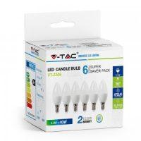 V-TAC LED IZZÓ szett / gyertya / 6 db / E14 / 5,5W / meleg fehér / VT-2246 2736