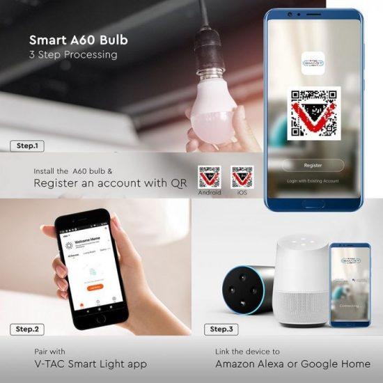 V-TAC LED IZZÓ SMART WIFI / E27 foglalattal / A60 típus / 10W / 2700K - 6400K + RGB / 806lumen / Dimmelhető / VT-5119 2751