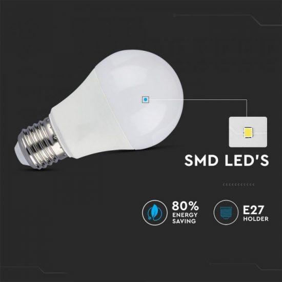 V-TAC LED IZZÓ MOZGÁSÉRZÉKELŐVEL / E27 foglalat / A60 típus / 9W / meleg fehér - 3000K / 806lumen / VT-2219 2760