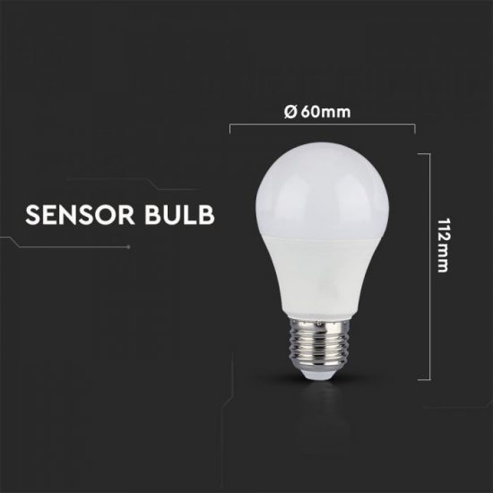 V-TAC LED IZZÓ MOZGÁSÉRZÉKELŐVEL / E27 foglalat / A60 típus / 9W / nappali fehér - 4000K / 806lumen / VT-2219 2761