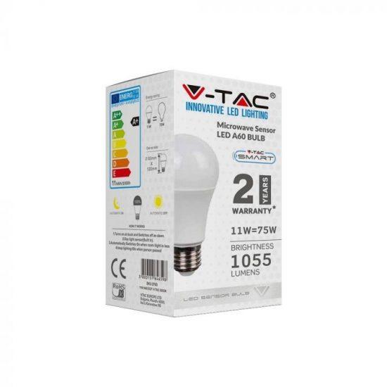 V-TAC LED IZZÓ MOZGÁSÉRZÉKELŐVEL / E27 foglalat / A60 típus / 11W / hideg fehér - 6400K / 1055lumen / VT-2211 2765