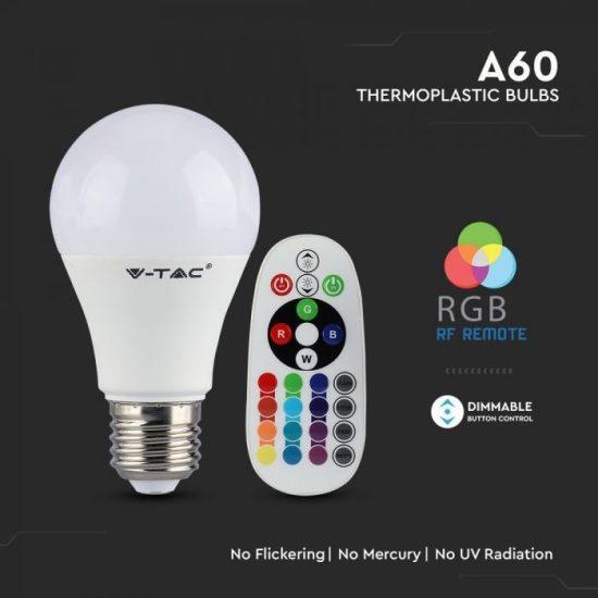 V-TAC LED IZZÓ TÁVIRÁNYÍTÓVAL / E27 foglalat / A60 típus / 9W / hideg fehér - 6400K + RGB / 806lumen / Dimmelhető / VT-2229 2768