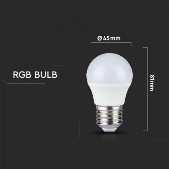 V-TAC LED IZZÓ TÁVIRÁNYÍTÓVAL / E27 foglalat / G45 típus / 3,5W / nappali fehér - 4000K + RGB / 320lumen / Dimmelhető / VT-2224 2773