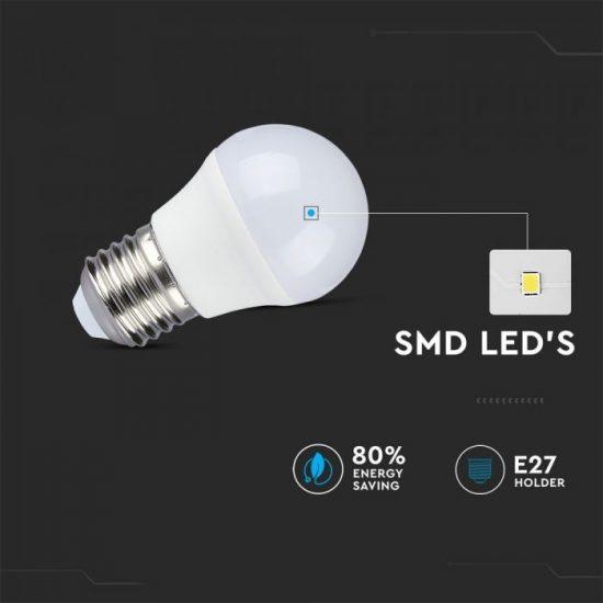 V-TAC LED IZZÓ TÁVIRÁNYÍTÓVAL / E27 foglalat / G45 típus / 3,5W / hideg fehér - 6400K + RGB / 320lumen / Dimmelhető / VT-2224 2774