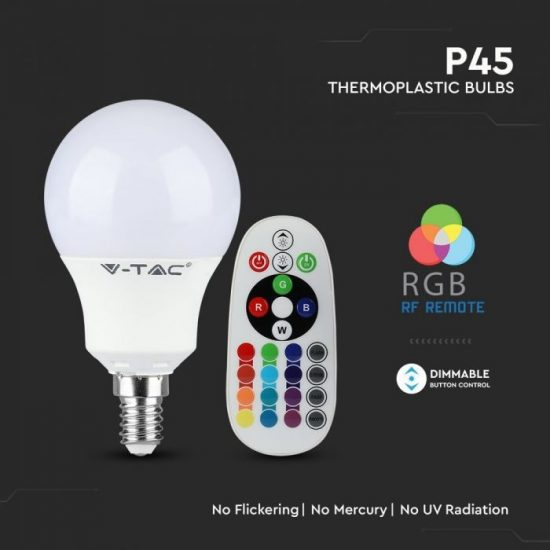 V-TAC LED IZZÓ TÁVIRÁNYÍTÓVAL / E14 foglalat / P45 típus / 3,5W / meleg fehér - 3000K + RGB / 320lumen / Dimmelhető / VT-2234 2775