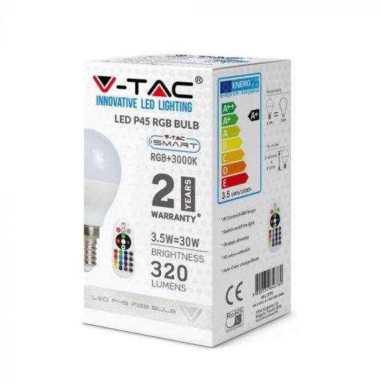 V-TAC LED IZZÓ TÁVIRÁNYÍTÓVAL / E14 foglalat / P45 típus / 3,5W / hideg fehér - 6400K + RGB / 320lumen / Dimmelhető / VT-2234 2777
