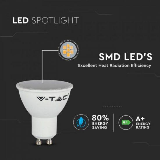 V-TAC LED SPOT / GU10 / 3,5W / 110° / RGB + meleg fehér - 3000K / 300lumen / VT-2244 2778