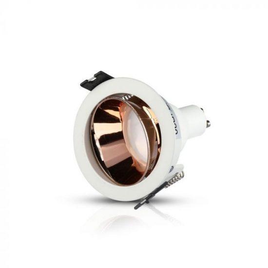 V-TAC LED SPOT BEÉPÍTŐ KERET / GU10 /1-foglalat / fehér-rózsaarany / kerek /fix / VT-872 3155