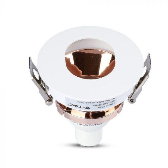 V-TAC LED SPOT BEÉPÍTŐ KERET / GU10 / 1-foglalat / fehér-rózsaarany / kerek / billenthető / VT- 874 3163