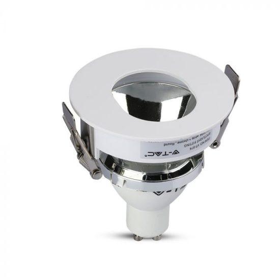 V-TAC LED SPOT BEÉPÍTŐ KERET / GU10 / 1-foglalat / fehér-króm / kerek / billenthető / VT- 874 3164