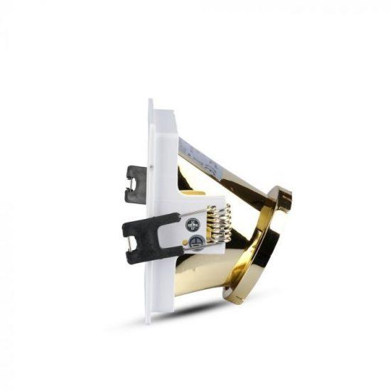 V-TAC LED SPOT BEÉPÍTŐ KERET / GU10 / 1-foglalat / fehér-arany / szögletes / billenthető / VT- 875 3166