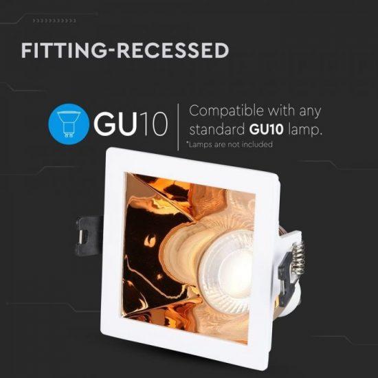 V-TAC LED SPOT BEÉPÍTŐ KERET / GU10 / 1-foglalat / fehér-rózsaarany / szögletes / billenthető / VT- 875 3167