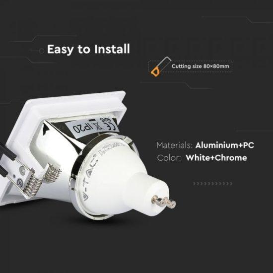V-TAC LED SPOT BEÉPÍTŐ KERET / GU10 / 1-foglalat / fehér-króm / szögletes / billenthető / VT- 875 3168