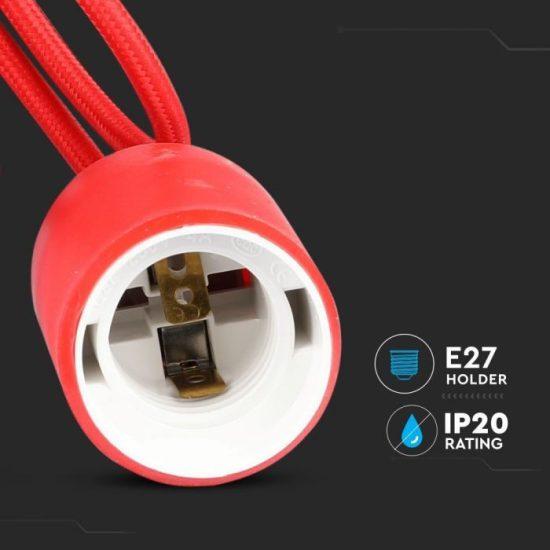 V-TAC E27 FÜGGESZTÉK / piros / VT-7228 3480