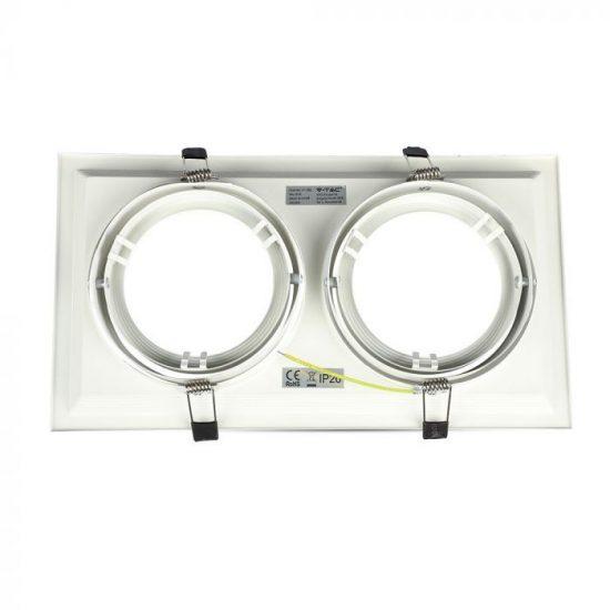 V-TAC LED SPOT BEÉPÍTŐ KERET  / AR111 / 2-foglalat / fehér / szögletes / billenthető / VT- 7221 3576