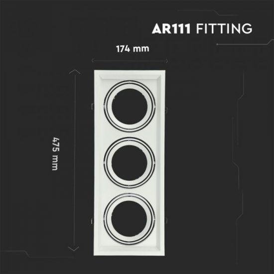 V-TAC LED SPOT BEÉPÍTŐ KERET  / AR111 / 3-foglalat / fehér / szögletes / billenthető / VT- 7221 3577