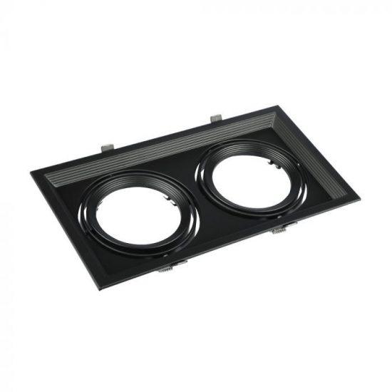V-TAC LED SPOT BEÉPÍTŐ KERET  / AR111 / 2-foglalat / fekete / szögletes / billenthető / VT- 7221 3582