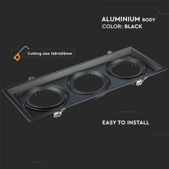 V-TAC LED SPOT BEÉPÍTŐ KERET  / AR111 / 3-foglalat / fekete / szögletes / billenthető / VT- 7221 3583