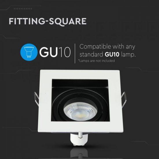 V-TAC LED SPOT BEÉPÍTŐ KERET / GU10 / 1-foglalat / fehér / szögletes / billenthető / VT- 781 3597
