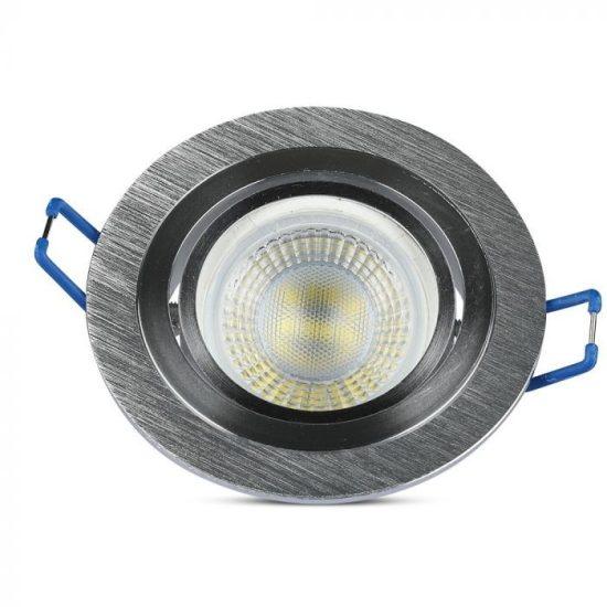 V-TAC LED SPOT BEÉPÍTŐ KERET / GU10 / 1-foglalat / csiszolt alumínium / kerek / billenthető / VT- 782 3600
