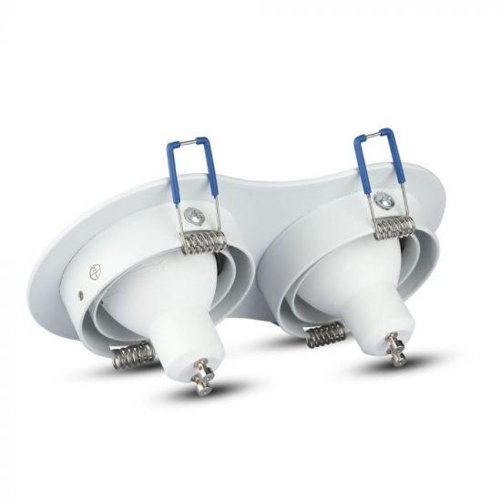 V-TAC LED SPOT BEÉPÍTŐ KERET / GU10 / 2-foglalat / fehér / kerek / billenthető / VT- 783 3601