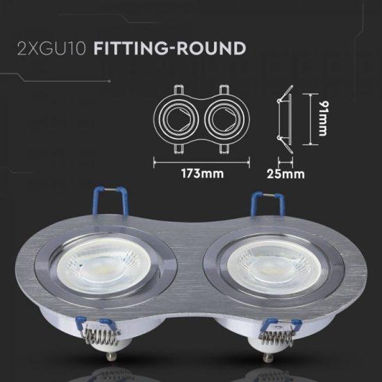 V-TAC LED SPOT BEÉPÍTŐ KERET / GU10 / 2-foglalat / csiszolt alumínium / kerek / billenthető / VT- 783 3602
