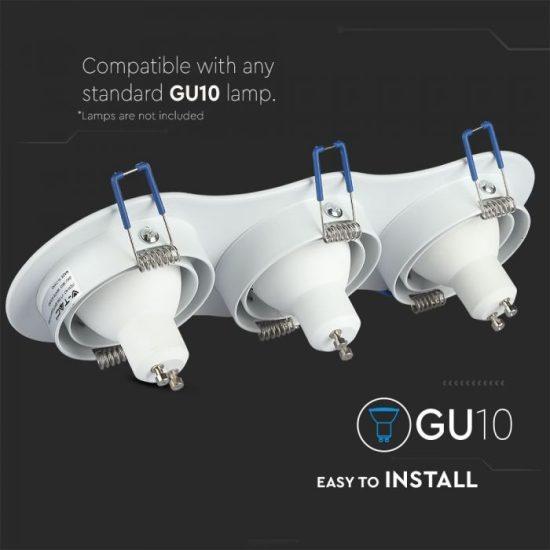 V-TAC LED SPOT BEÉPÍTŐ KERET / GU10 / 3-foglalat / fehér / kerek / billenthető / VT- 784 3603