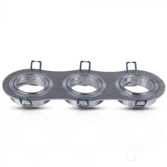 V-TAC LED SPOT BEÉPÍTŐ KERET / GU10 / 3-foglalat / csiszolt alumínium / kerek / billenthető / VT- 784 3604