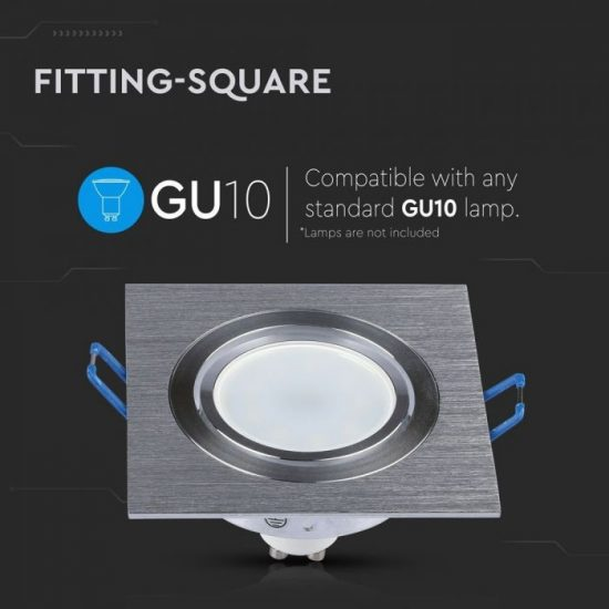 V-TAC LED SPOT BEÉPÍTŐ KERET / GU10 / 1-foglalat / csiszolt alumínium / szögletes / billenthető / VT- 782 3606
