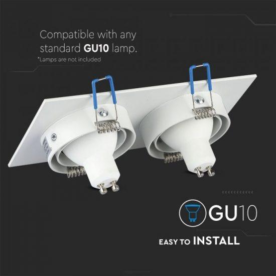 V-TAC LED SPOT BEÉPÍTŐ KERET / GU10 / 2-foglalat / fehér / szögletes / billenthető / VT- 783 3607