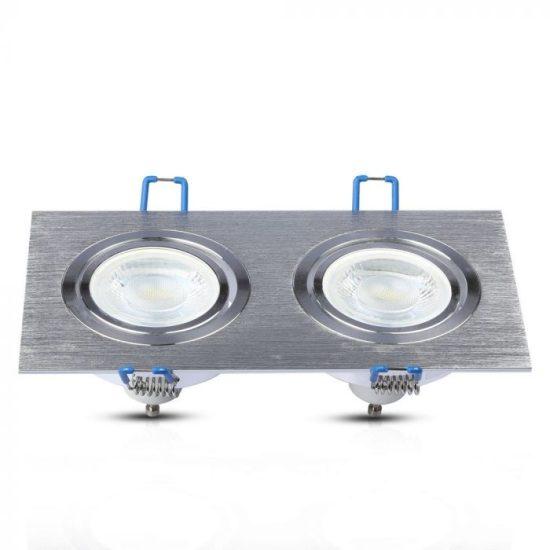 V-TAC LED SPOT BEÉPÍTŐ KERET / GU10 / 2-foglalat / csiszolt alumínium / szögletes / billenthető / VT- 783 3608