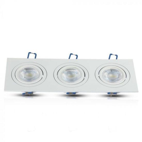 V-TAC LED SPOT BEÉPÍTŐ KERET / GU10 / 3-foglalat / fehér / szögletes / billenthető / VT- 784 3609
