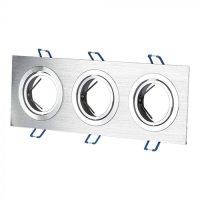 V-TAC LED SPOT BEÉPÍTŐ KERET / GU10 / 3-foglalat / csiszolt alumínium / szögletes / billenthető / VT- 784 3610