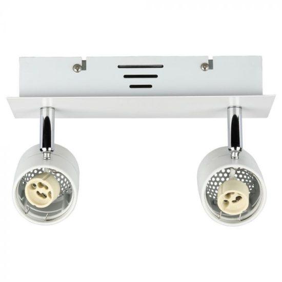 V-TAC LED SPOT MENNYEZETI ARMATÚRA  / GU10 / 2-foglalat / fehér / szögletes / billenthető / VT- 788 3618