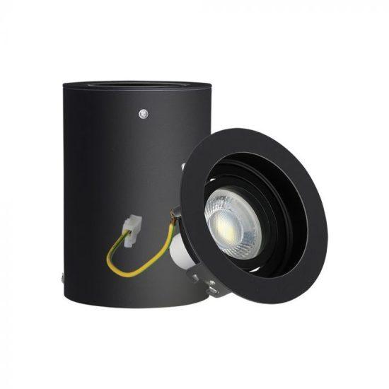 V-TAC LED SPOT FELÜLETRE SZERELHETŐ KERET / GU10 / 1-foglalat / fekete / kerek / fix / VT- 796 3628